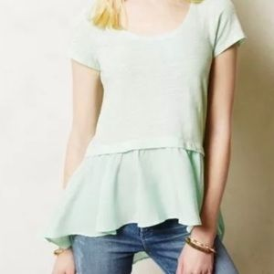 ANTHROPOLOGIE Postmark Light Mint Green Top Size M
